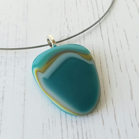Fused Glass Pebble Pendant and Choker