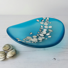 Turquoise glass dish, seaglass style, beach themed decor