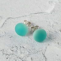 Aqua stud earrings, fused glass with sterling silver fittings