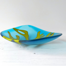 Turquoise decorative fused glass dish