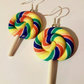 Polymer Clay Kawaii Rainbow Lolly Earrings