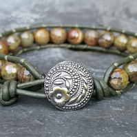 Olive green leather bracelet with faceted agate beads and button fastener