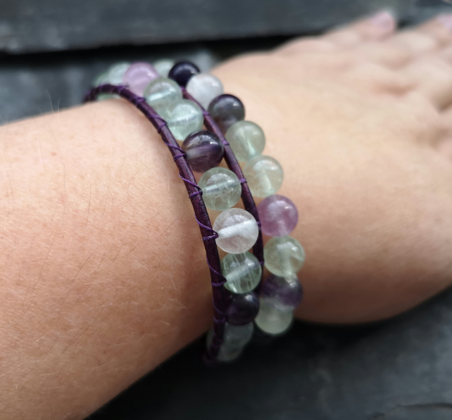 Fluorite bead, purple leather and stretch bracelet pair