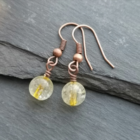Citrine semi precious bead earrings with copper earwires, November birthstone