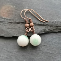 White jade earrings with copper earwires, white and green jade, semi precious
