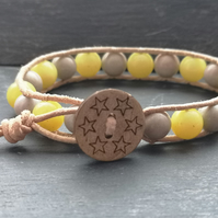 Grey and yellow jasper and jade semi-precious bead and leather bracelet