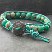 Teal Jasper semi-precious bead and leather bracelet with button fastener