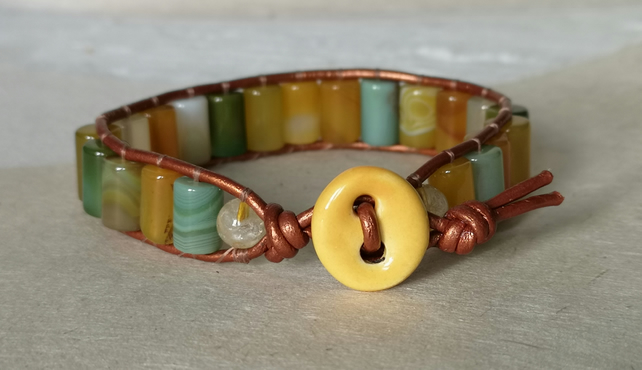Yellow and green agate bead and copper leather bracelet with ceramic button