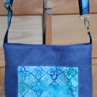 Air Force blue faux suede and batik bag
