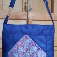 Navy blue faux suede and batik bag