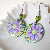 Purple daisy earrings, handpainted wood with wire wrapped glass beads