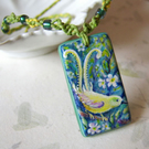 'Lemon Lyre Bird' carved and painted wood necklace with macramé cord