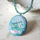 Dragonfly and waterlilies handpainted wood pendant
