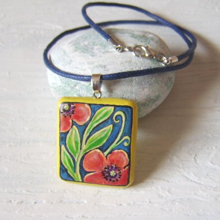 Poppies and laurel handpainted wood pendant