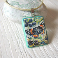Red admiral butterfly hand painted wood pendant