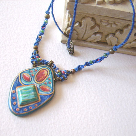 'Medieval Macrame' handpainted wood and beaded fibre necklace