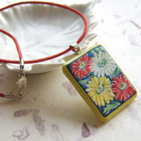 Colourful daisies pendant, hand painted on sustainable wood