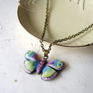 Bright butterfly, hand carved and painted pendant on sustainable wood
