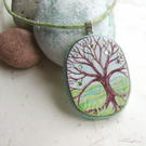 Jewelled tree, hand painted wood pendant with hand dyed cord