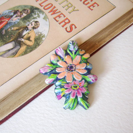 Marigold posy brooch, hand carved and painted on wood