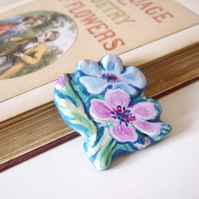 Anemone posy brooch, hand carved and painted on wood