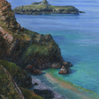 Mullion Cliff toward Mullion Island - ORIGINAL PAINTING