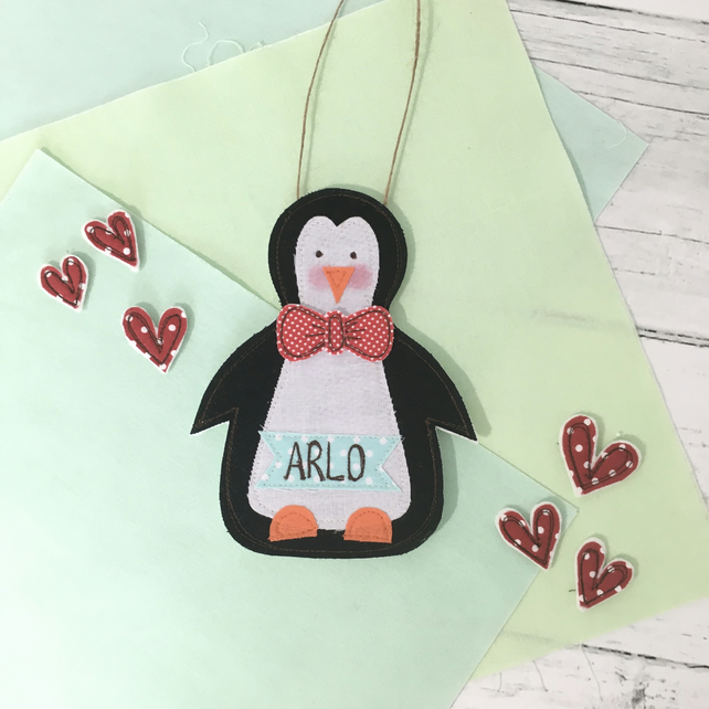 Embroidered Penguin Personalised Money Pocket Decoration