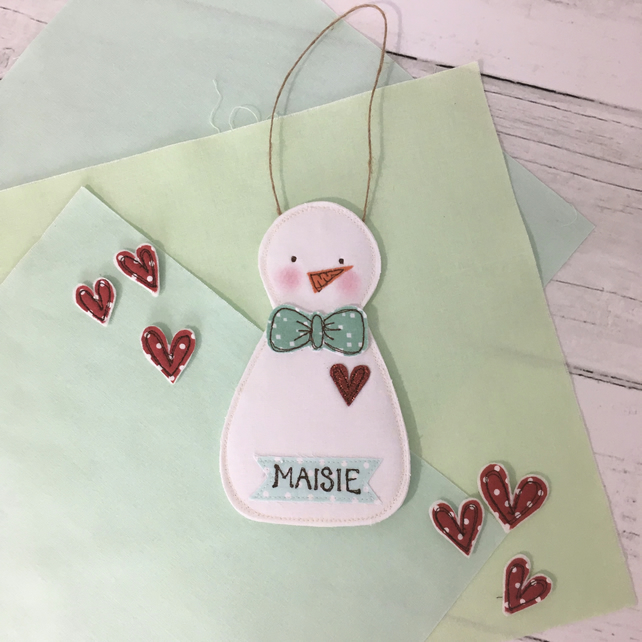 Embroidered Snowman Personalised Money Pocket Decoration