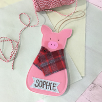 Embroidered Pig in Blanket Personalised Money Pocket Decoration