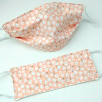 Reusable Face Covering in Peach Daisy Print