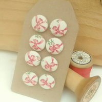 Fabric Buttons, Pink Ribbon