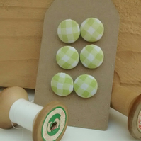 Fabric Buttons, Green Gingham