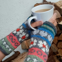 Wrist Warmers, Hand Knitted Fair Isle Gloves