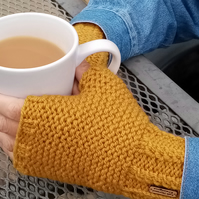 Hand Knit Mustard Fingerless Gloves
