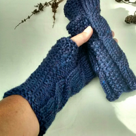 Navy Fingerless Gloves, Cable Knit Wrist Warmers