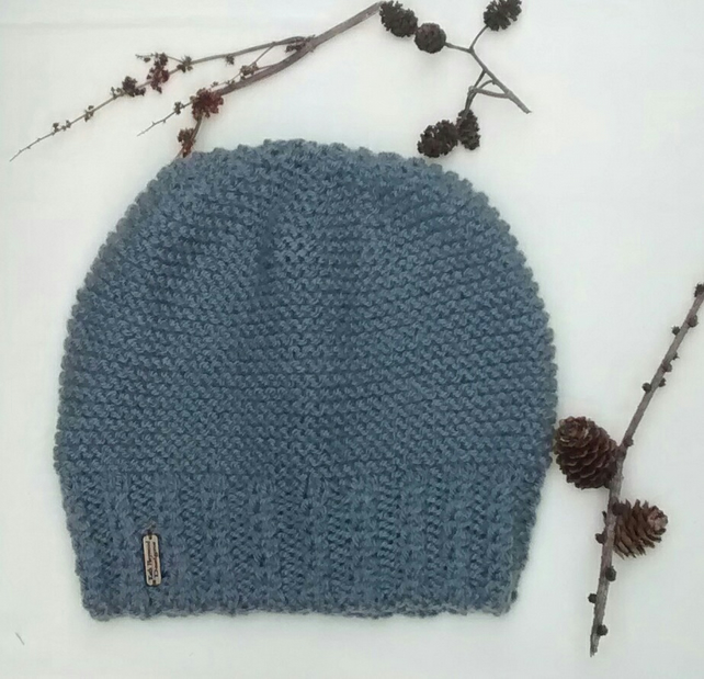Grey Hand Knitted Beanie Hat