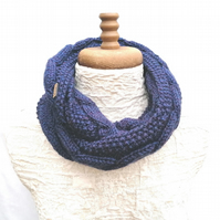 Women's Snood, Dark Blue Tweed Aran, Infinity Scarf