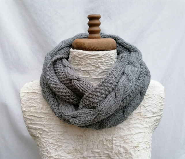 Women's Snood, Grey Aran, Infinity Scarf