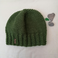 Green Hand Knitted Beanie Hat