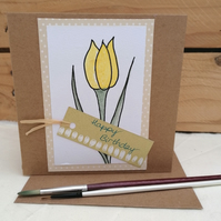Birthday Card, Tulip, Handmade