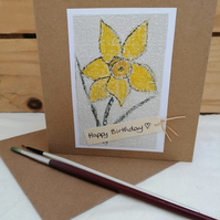 Birthday Card, Daffodil, Handmade Eco Friendly Upcycled Card