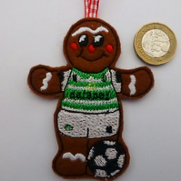Gingerbread footballer wearing Celtic colours Christmas tree decoration