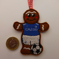 gingerbread footballer in Everton colours - Christmas tree decoration