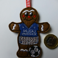 embroidered gingberbread footballer in Milwall colours