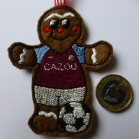 gingerbread footballer in Aston Villa colours hanging decoration