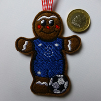 gingerbread footballer in Chelsea colours Christmas tree decoration bauble