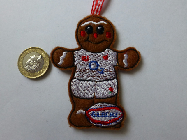 Christmas tree decoration - England rugby player - Folksy