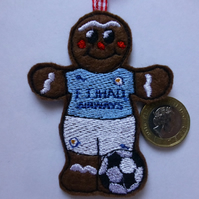 Manchester City gingerbread man footballer Christmas Tree decoration