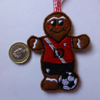 Christmas tree decoration gingerbread man wearing Southampton colours
