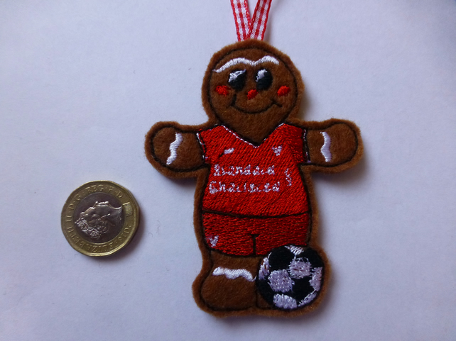 Gingerbread man footballer wearing Liverpool colours - hanging decoration